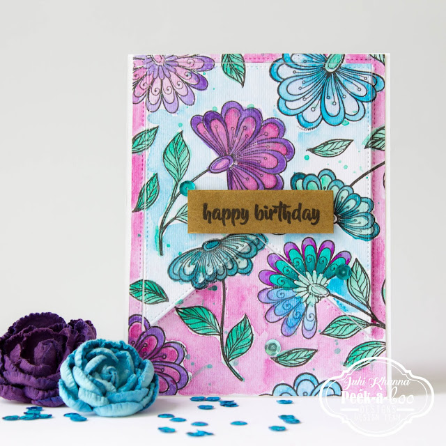 watercolor card using Peek-a-boo Designs Stamps