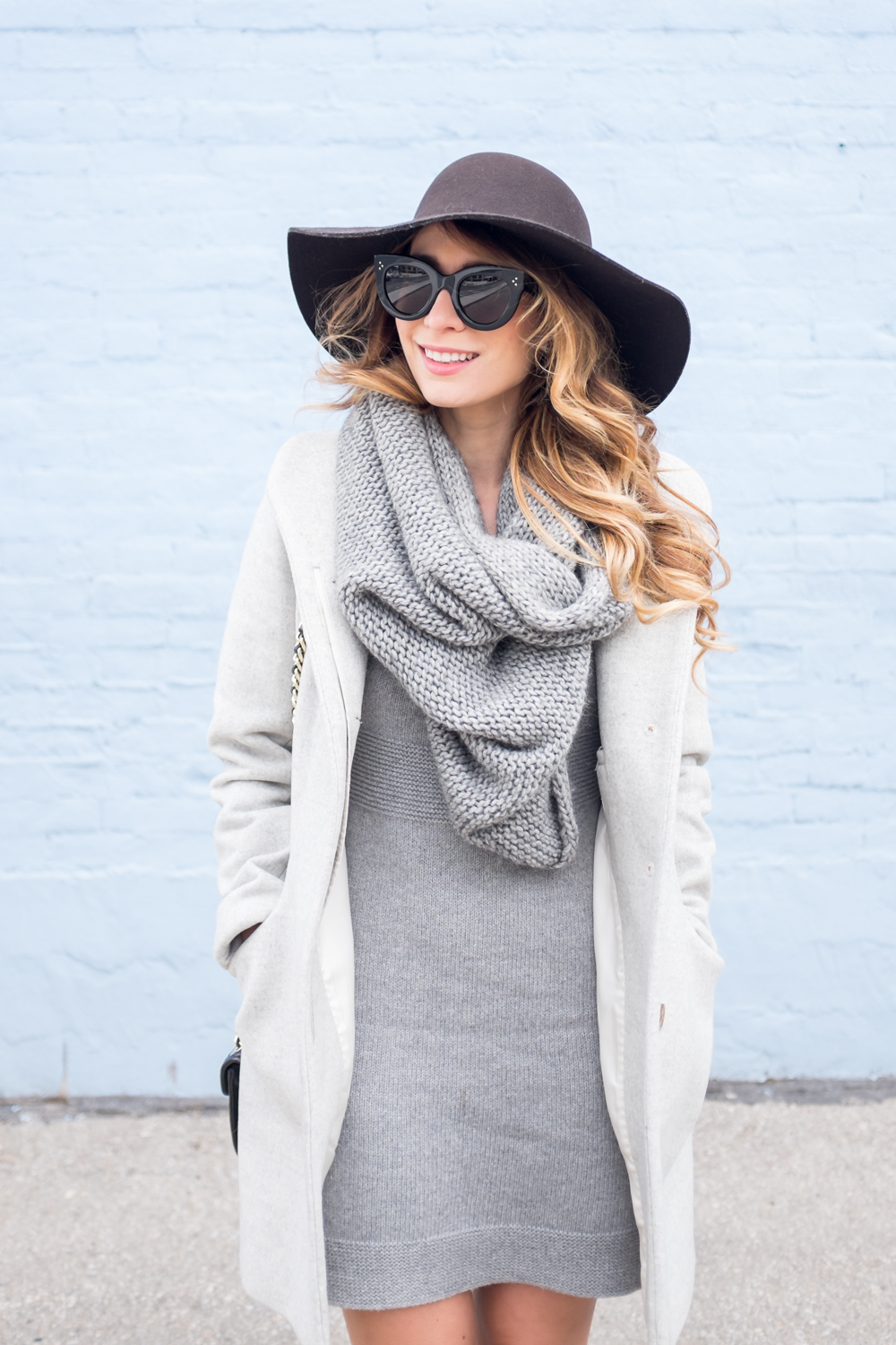grey aritzia wool cocoon coat jacket winter outfit