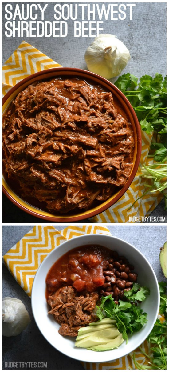 Saucy Southwest Shredded Beef from Budget Bytes featured on SlowCookerFromScratch.com