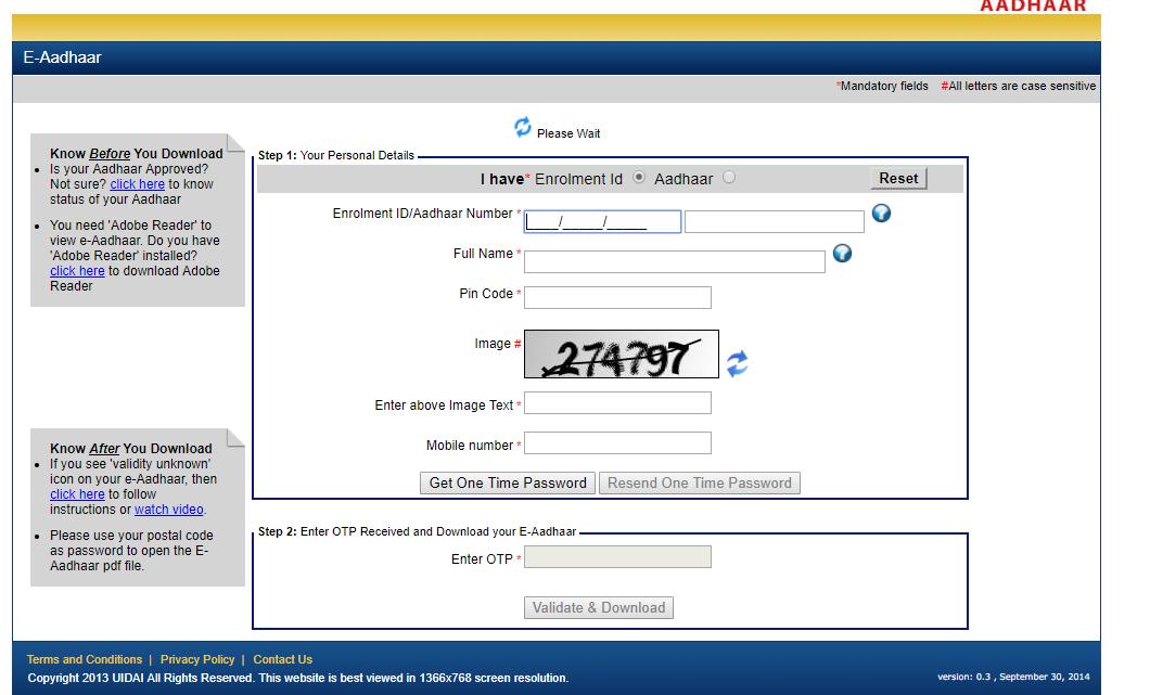 aadhar online download password