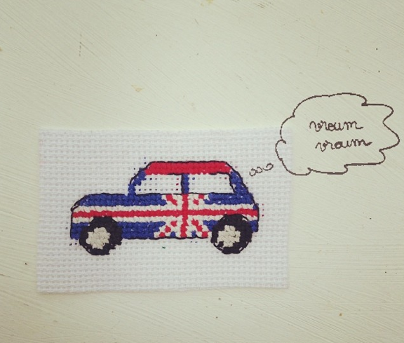 broderie point de croix uk embroidery cross stitch voiture mini