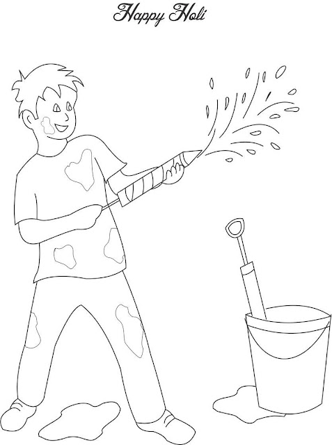 Happy Holi Colouring Page Greeting