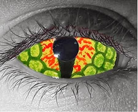 5a8054e4ba36e Essas lente chamada de Olho de dragão cobre completamente a parte visível  do globo ocular e tem algum efeitos que lembram as escamas dos lagartos, ...