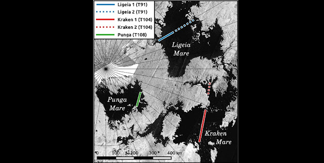 Titan's three largest lakes and their surrounding areas as seen by the Cassini RADAR instrument. The researchers used the instrument to study waves on the lake surfaces. Cyril Grima/ The University of Texas at Austin