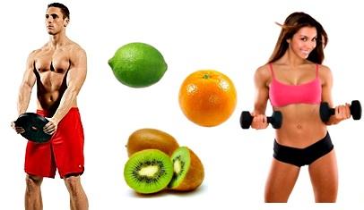 Frutas kiwi limón naranja masa muscular