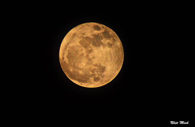 Mặt Trăng chụp qua kính thiên văn tại Trà Vinh. Hình ảnh: Nhật Minh/TAAC.