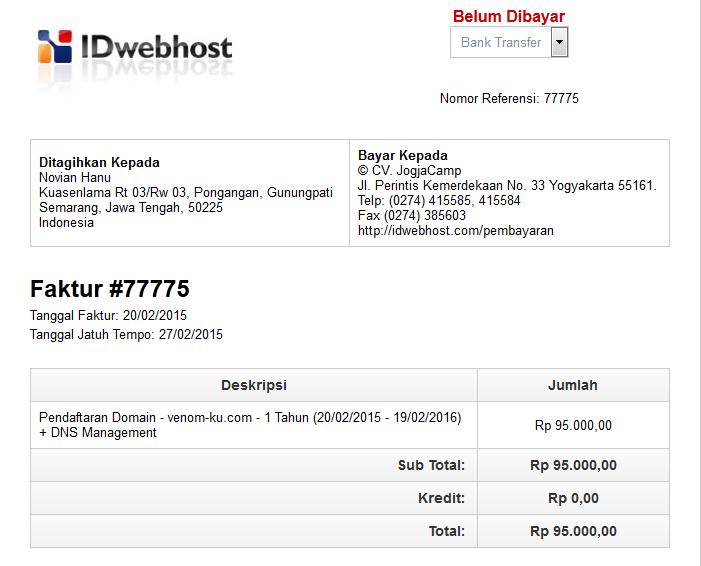 tagihan pembayaran idwebhost