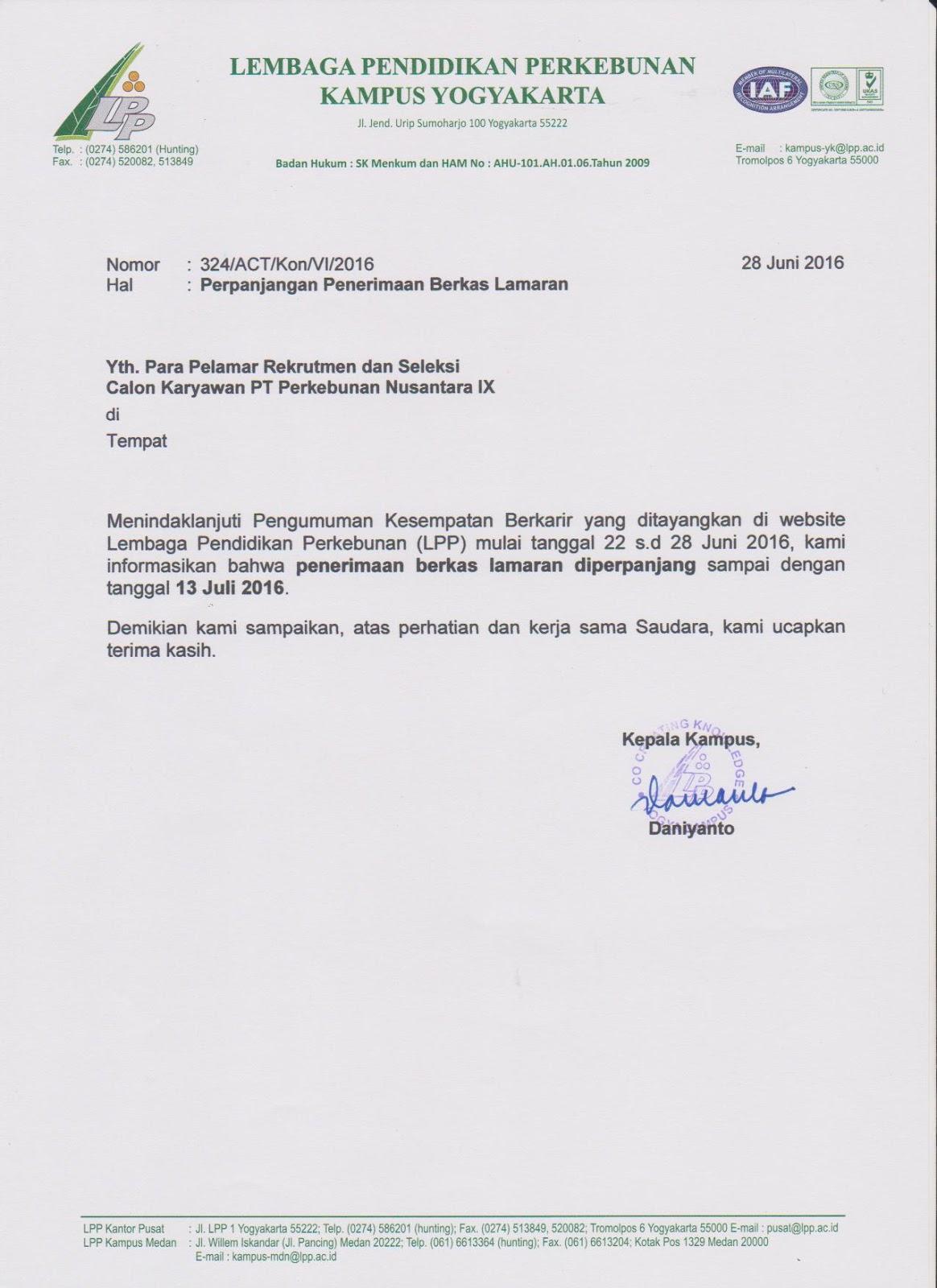 Rekrutmen PT.Perkebunan Nusantara IX - LEMBAGA PENDIDIKAN PERKEBUNAN