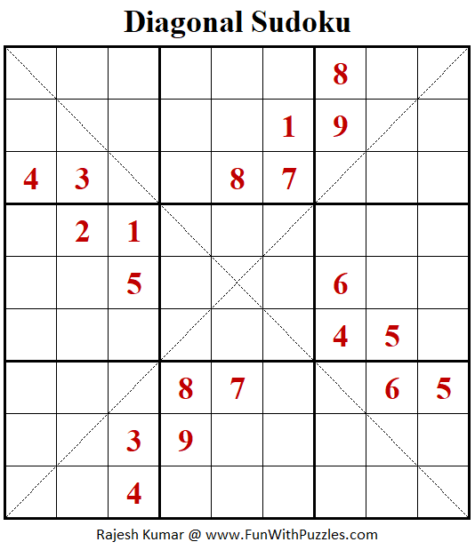 Diagonal Sudoku Puzzle (Fun With Sudoku #353)