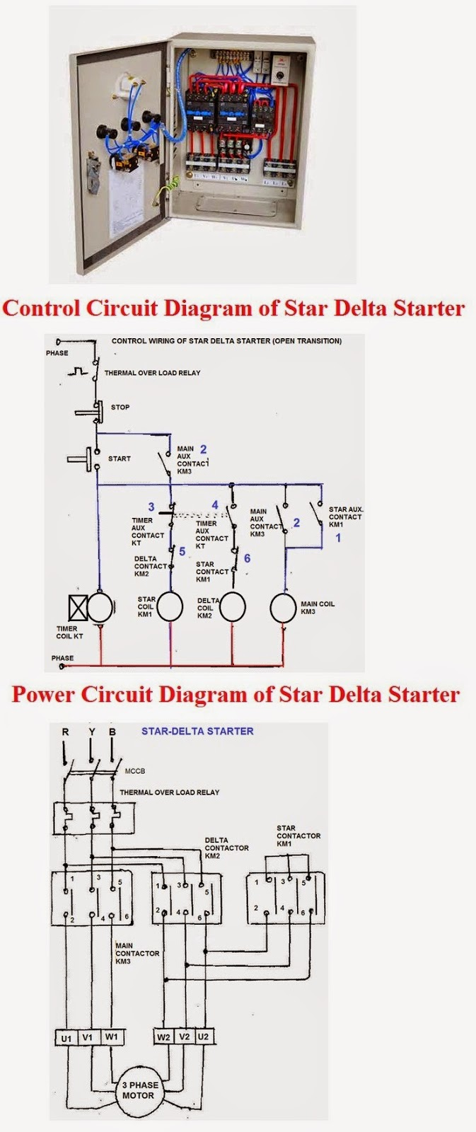 Star Delta Wiring Diagram Motor Simple Respiration Star-delta Three Phase Starter (control & Power Circuit Diagram) | Elec Eng World