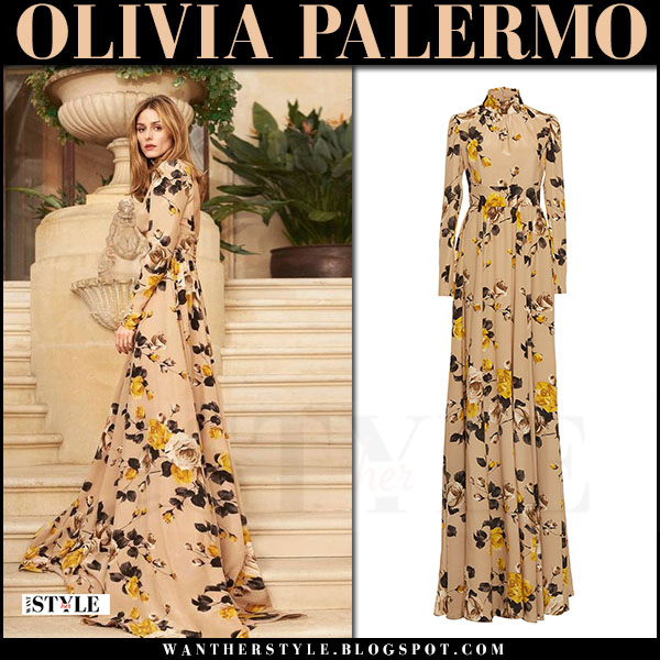Olivia Palermo in beige rose floral print long dress rochas editorial june 2017