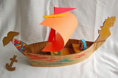 Como hacer un Barco de Carton Pasos-Plantilla