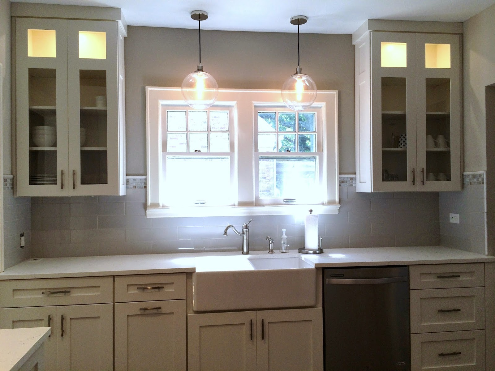Kitchen Cabinets To Ceiling With Glass Bungalow Kitchen Reveal Elz Design