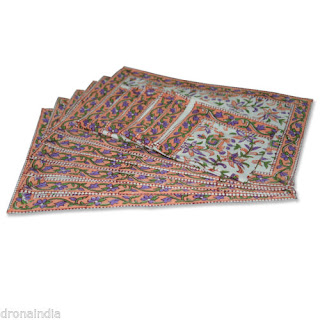 DronaCraft Cotton Place Mat Block Printed Colourful Tablemat Napkin Set of 6