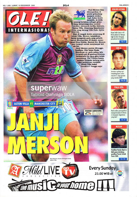 PAUL MERSON ASTON VILLA VS MANCHESTER CITY