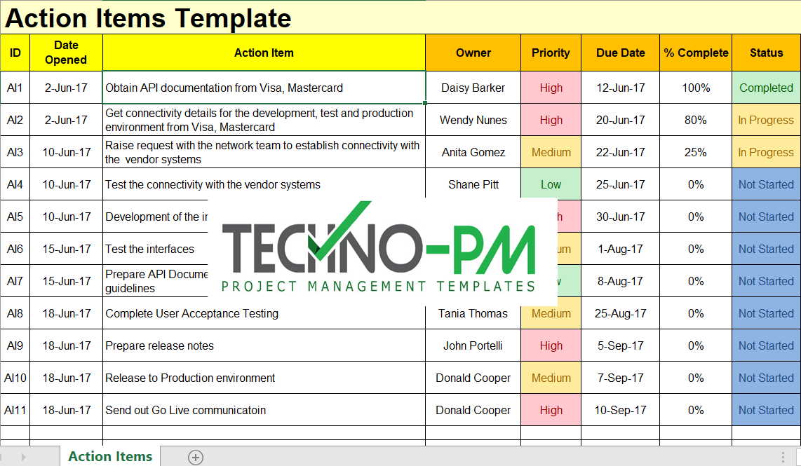 Action items template for excel free project management for Action item tracker template