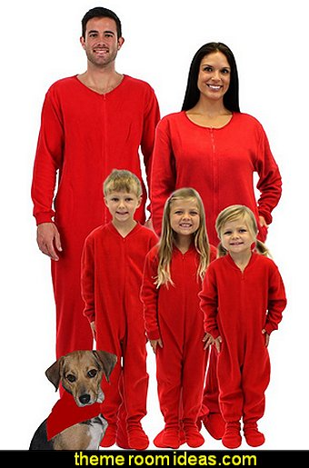 Family Matching Red Footed One Piece Pajamas