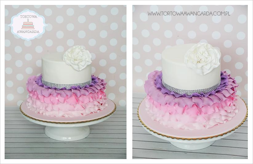 artystyczny piętrowy tort urodzinowy ombre różowy fiolet dla dziewczynki Warszawa