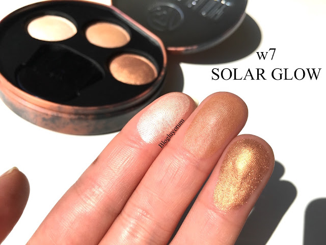 w7 solar glow bronzer bronze shimmer highlighter incelemesi
