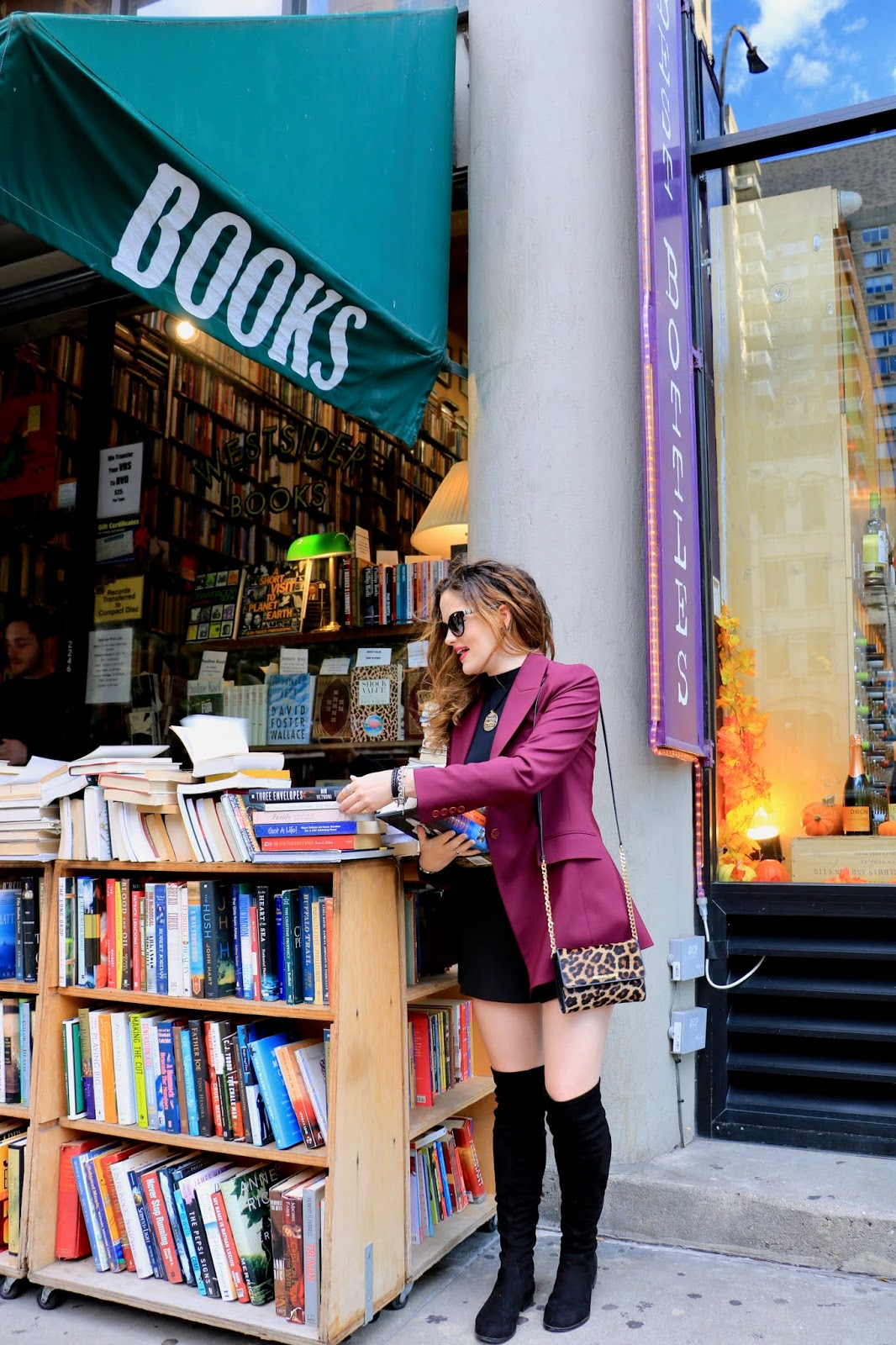 Nyc fashion blogger Kathleen Harper at an Upper Westside used bookstore