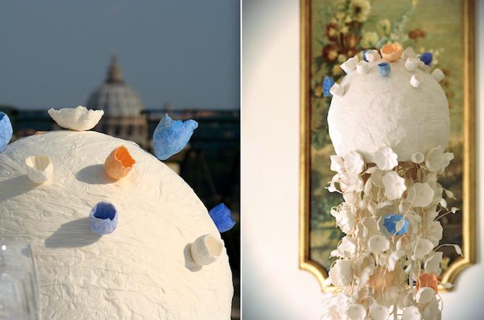 Eco wedding design 12 centrotavola con fiori di carta for Carta per cartapesta