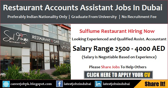 Assistant Accountant Jobs in Dubai Restaurant