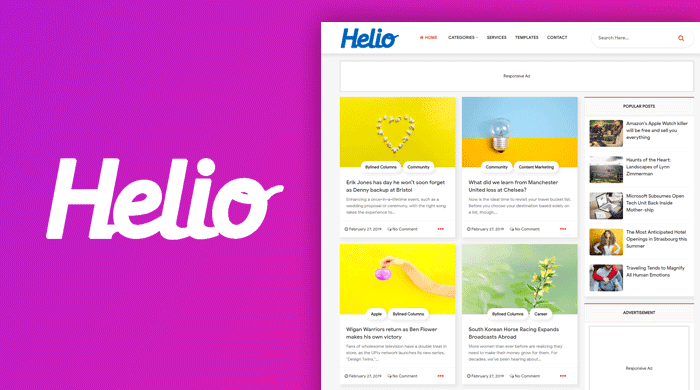 Helio Grid Style Blogger Template