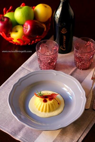 budino mele salato salsa al pecorino prosciutto croccante aceto balsamico