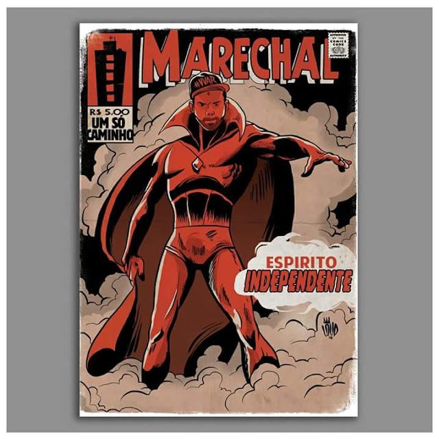 Rap em quadrinho - Marechal é retratado como Visão, herói da Marvel.