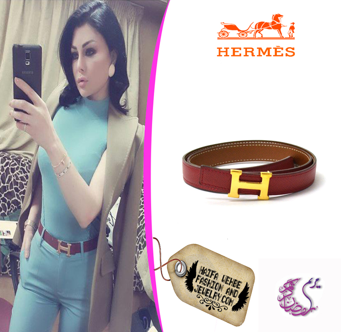 89b835346952 Haifa Wehbe Wearing Hermes H Gold buckle belt with Red x brown leather.
