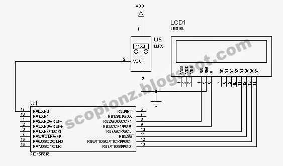 LM35 Simple Thermometer Circuit With LCD
