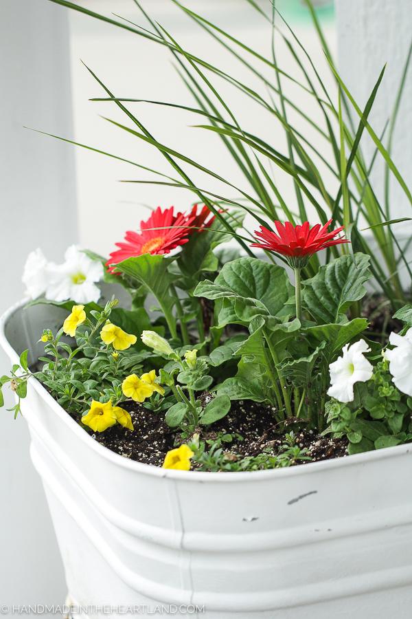 Vintage metal wash basin as front door flower pot