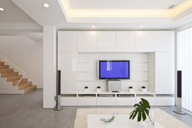 White modern furniture in the living room