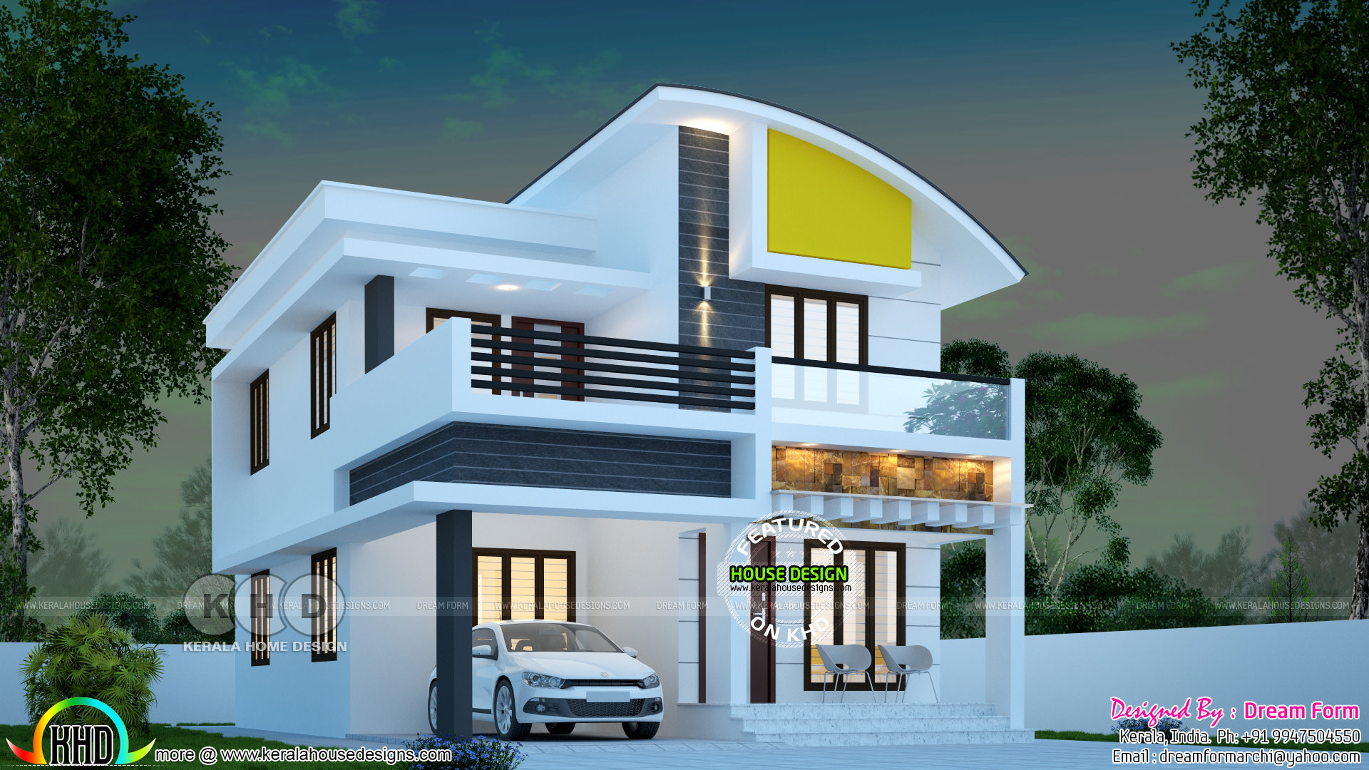 3 Bhk 1445 Square Feet Curved Roof Home Kerala Home Design