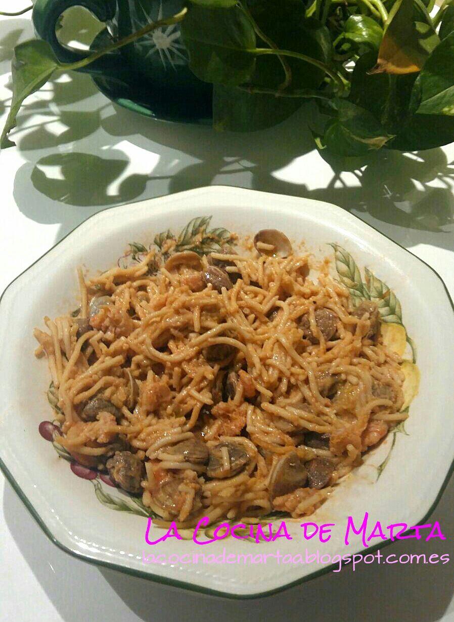 La cocina de marta espaguetis a la marinera sin gluten - Espaguetis con chirlas ...