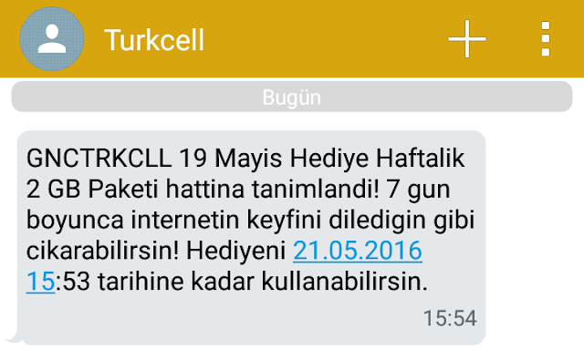 Turkcell'den gelen 2GB 19 Mayıs hediye internet onay mesajı.