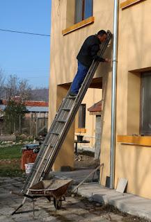 Bekir up the huge ladder (not extended)