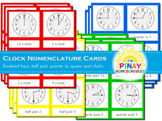 Clock Nomenclature Cards with Borders