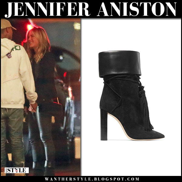 Jennifer Aniston in black jacket, black pants and black leather and suede ankle boots saint laurent tanger street fashion february 10