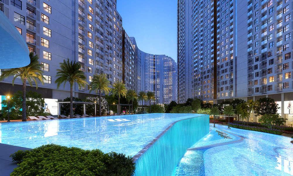 Tiện ích hồ bơi thác nước 2 tầng dự án căn hộ River City quận 7 HCM