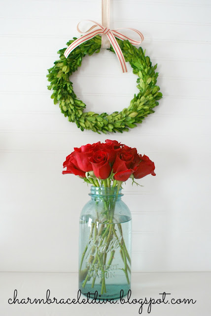 red roses vintage blue mason jar vase boxwood wreath