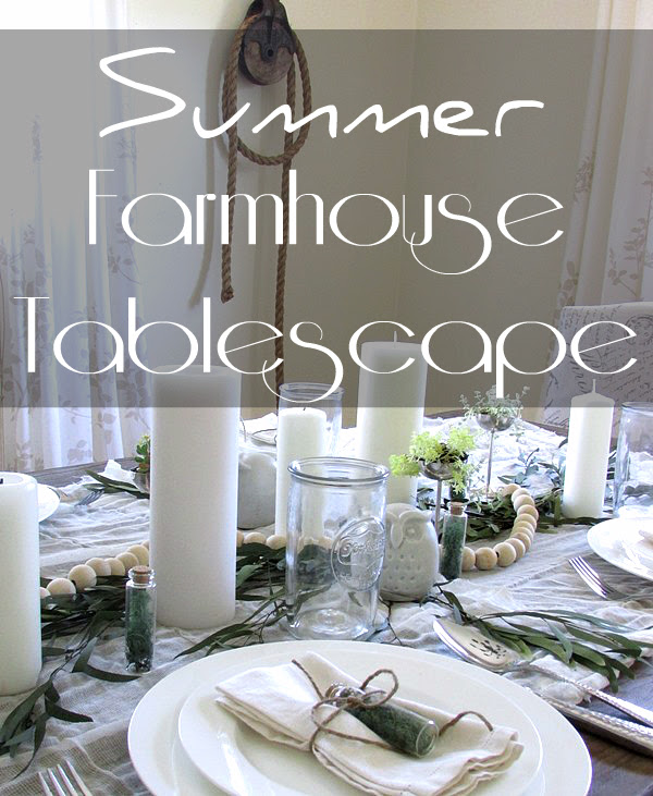 Neutral tablescape for summer entertaining. Using inexpensive items found at a local thrift store or grocery store, to set a beautiful table for the home.