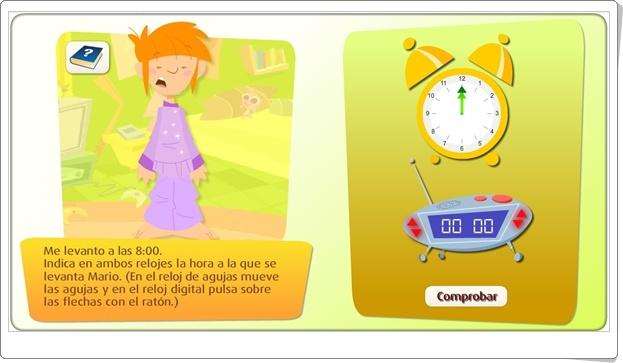 """""""El reloj digital"""" (Juego de Medidas de Tiempo de Primaria)"""
