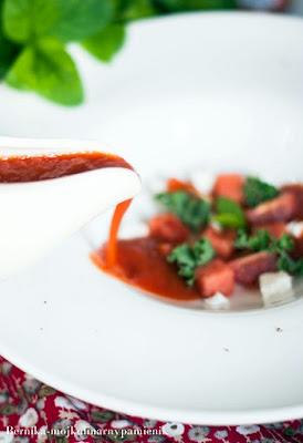 zupa, pomidorowy, lowicz, arbuz, krem pomidorowy, feta, bernika, kulinarny pamietnik