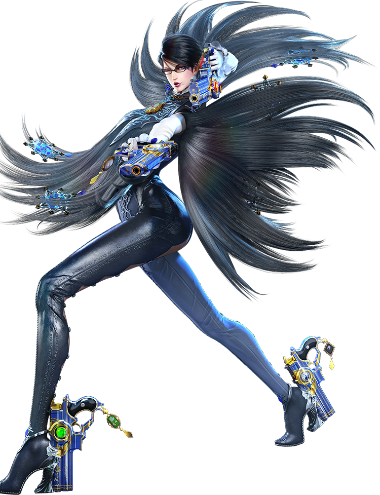 Bayonetta wielding scarborough fair in classic sexy pose
