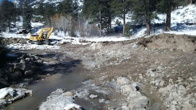 Photo of Estes Park fish hatchery stabilization project.