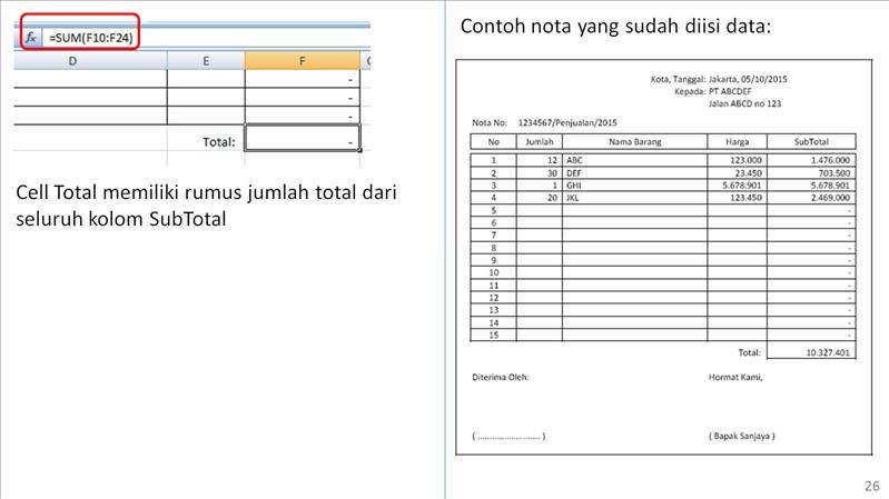 Nigurucom Nota Penjualan Dengan Microsoft Excel