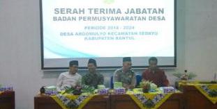Serah Terima Jabatan Bpd Periode 2018 2024 Desa Argomulyo