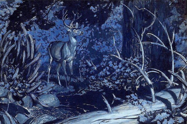a Harold Von Schmidt illustration, blue deer