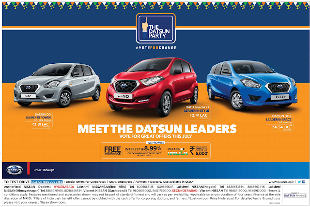 Diwali 2017 offers and discount on Nissan and Dustan Cars pics